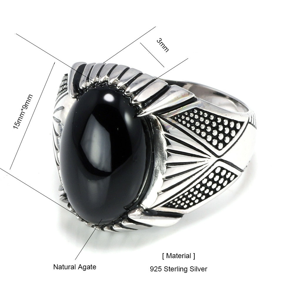 925 Sterling Silver Black Natural Stone Ring