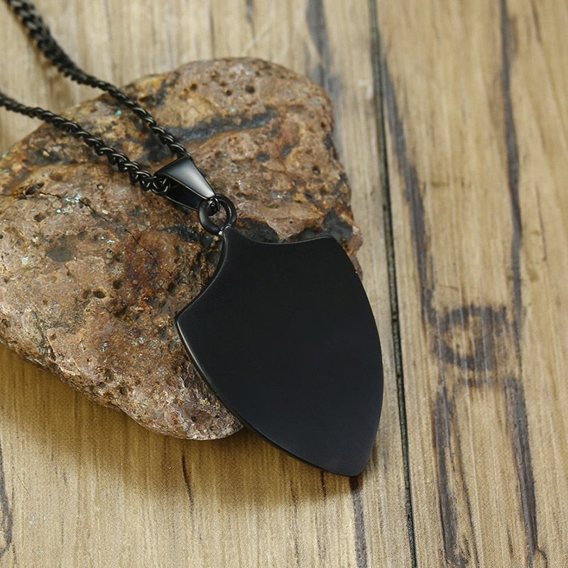 Black and Army Camouflage Shield Pendant Necklace