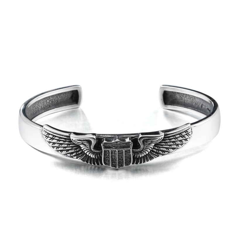 Vintage Opening Wings Badge Steel Bracelet
