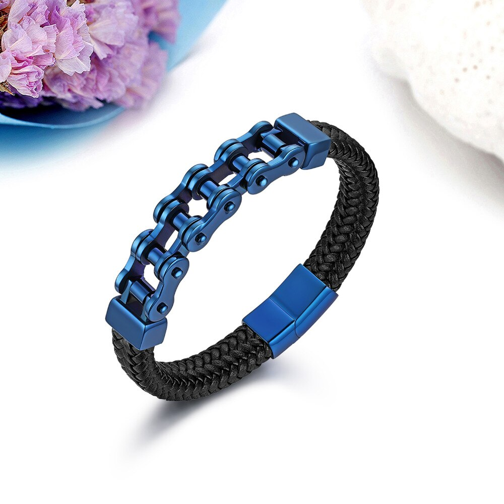 Bike Chain With Braided Leather Magnet Bracelet