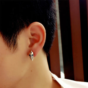Sterling Silver Skull Stud Men Earrings