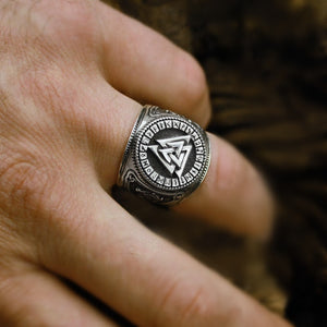 Viking Compass Magic Stave Odin Ring