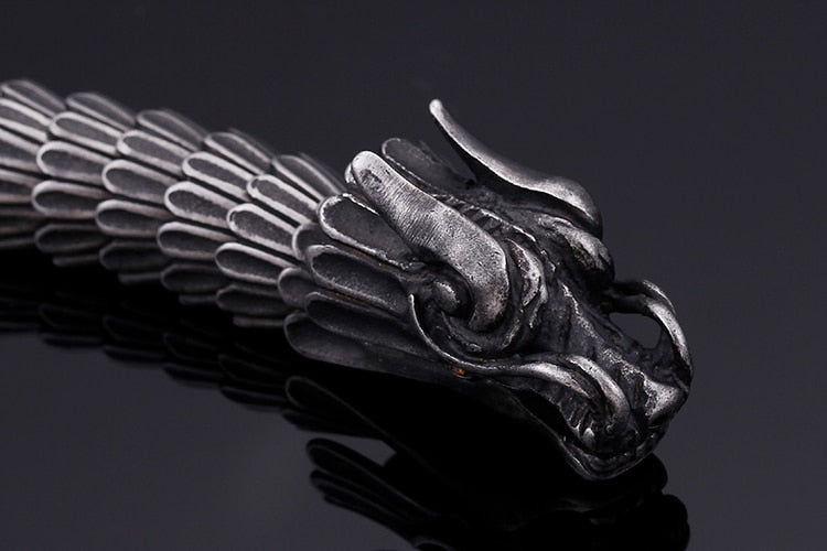 Dragon Head Charm Steel Bracelet