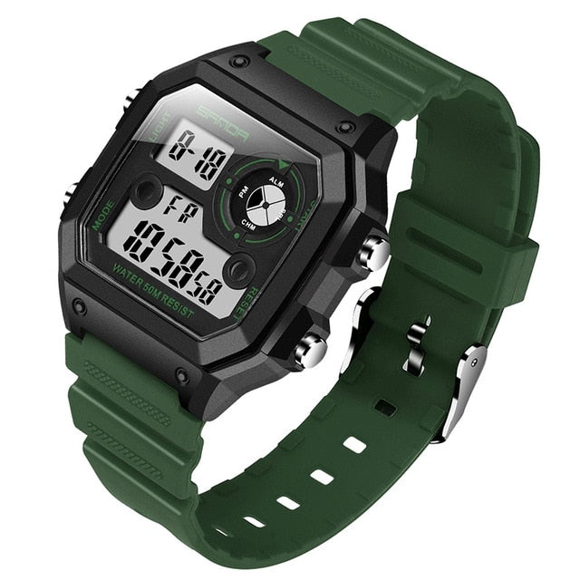 Digital Square Waterproof Rubber Strap Watch