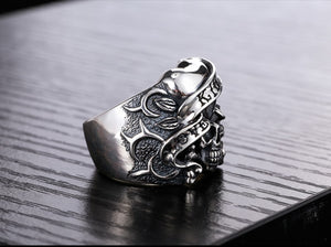 Sterling Silver Heart Signet Retro Style Skull Ring