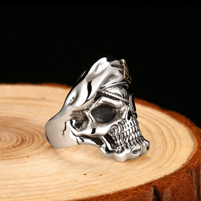 Sterling Silver One Eye Mask Skull Ring - Re Sizable