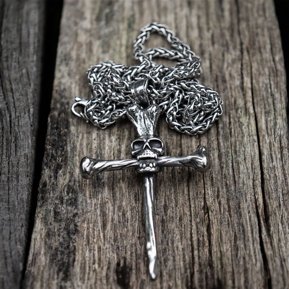 Nail Spike Trial Cross Skull Pendant Necklace