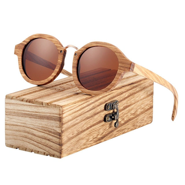 Wood Round Polarized Sunglasses