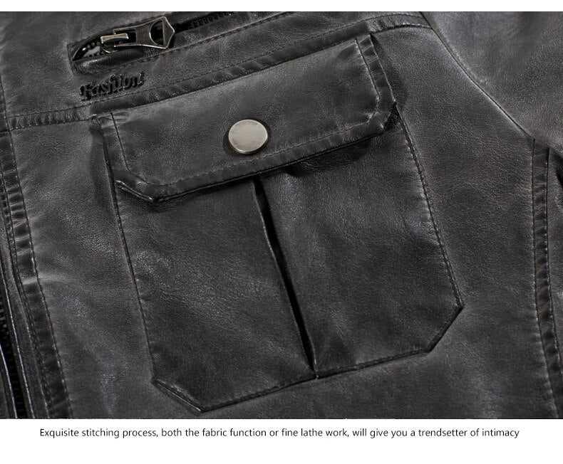 Multi-Pocket Leather Jacket for Cafe Racer Riders