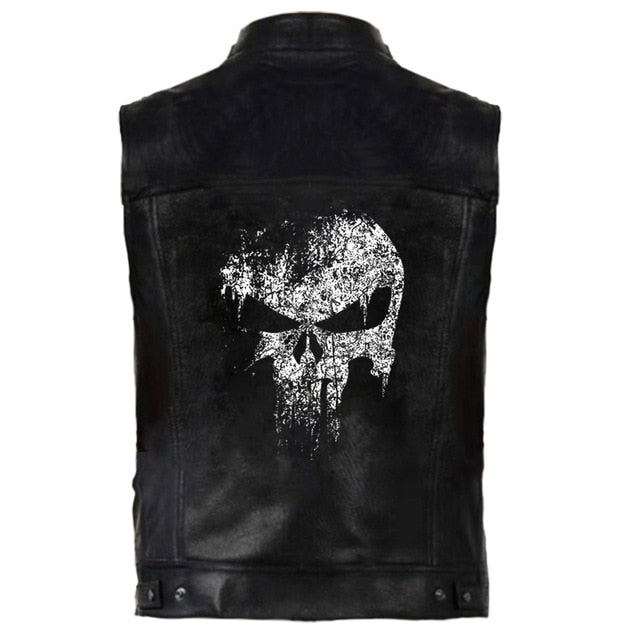 Black PU Leather Skull Motorcycle Vest