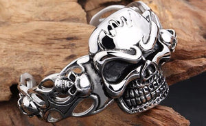 Stainless Steel Huge Heavy Skull Bracelet