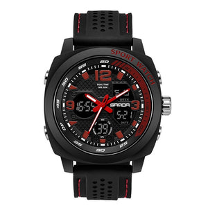 Silicone Strap Digital Analog Sports Watch
