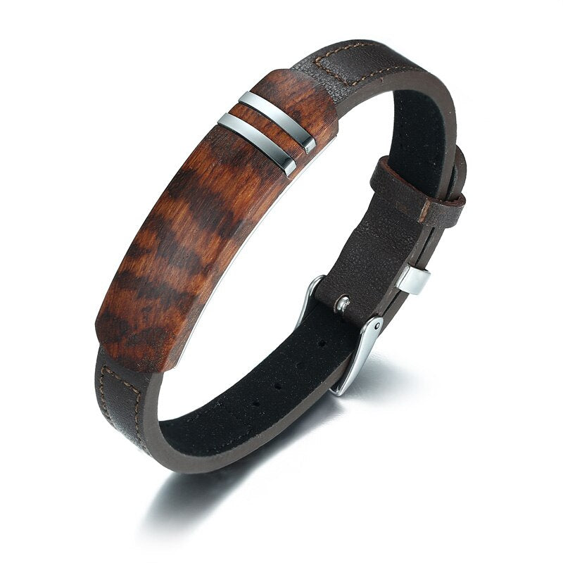 Genuine Leather Rosewood Adjustable Bracelet