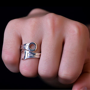 Sterling Silver Cool Wrench Adjustable Biker Ring