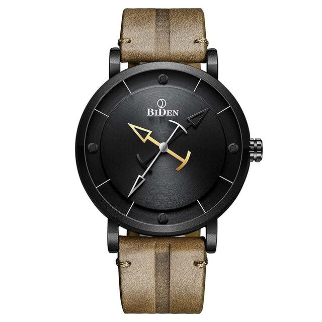 Sports Analog Leather Strap Watch