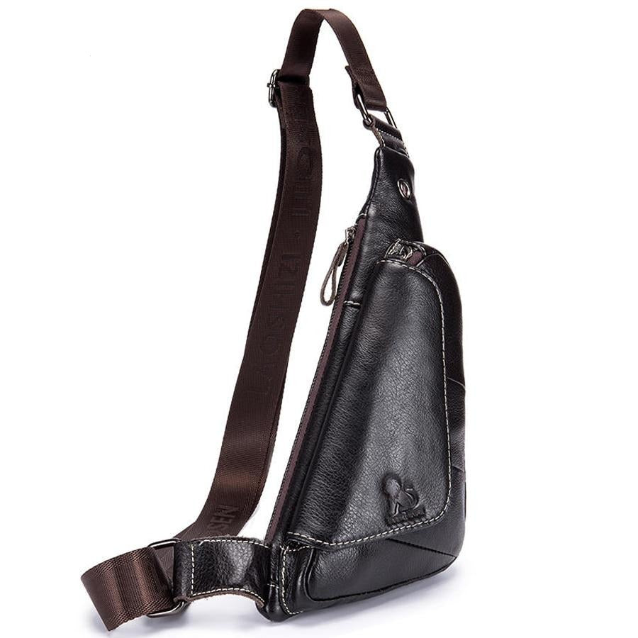 Genuine Leather Crossbody Triangle Messenger Bag