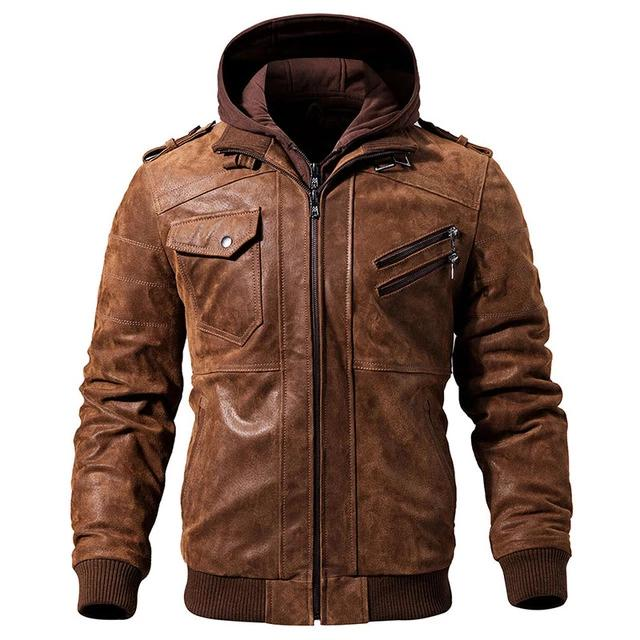 Original Leather Motorcycle Removable Hood Jackets