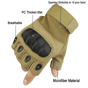 Touch Screen Carbon Hard Knuckle Tactical Half Finger Gloves