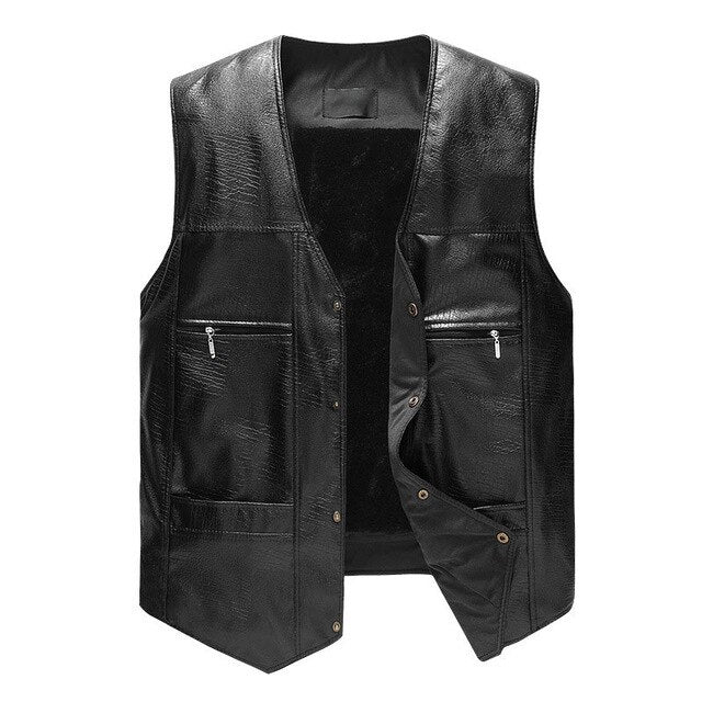 Black PU Leather Vest for Riders
