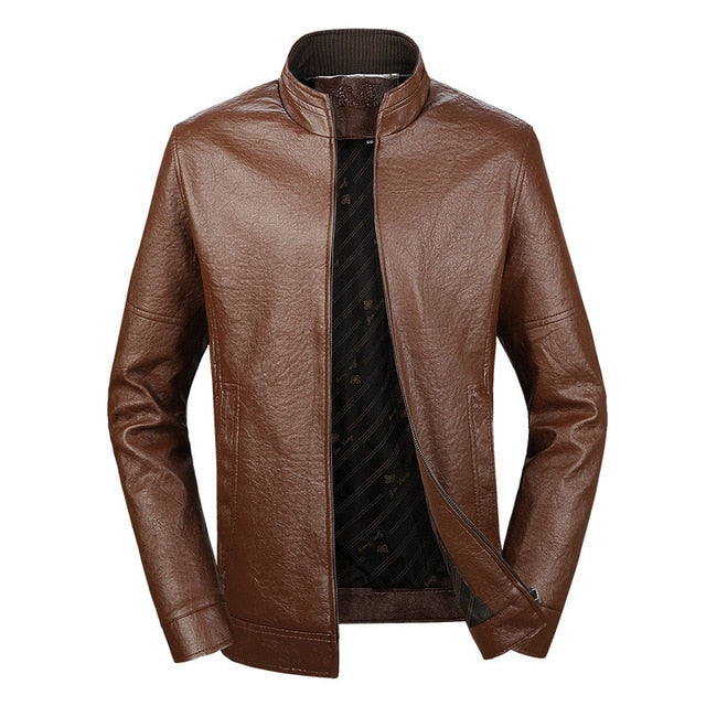 Stand Collar Simple Leather Jacket