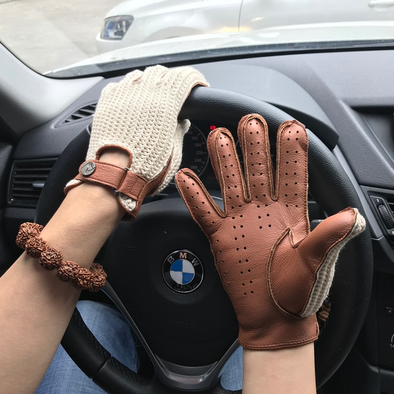 Goatskin Gloves Knitted + Leather Unlined Locomotive Driving Gloves
