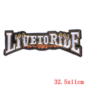 Live to Ride Iron On Biker Patches For Clothing