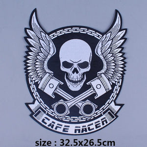 Caferacer Piston Skull Iron On Biker Patches For Clothing