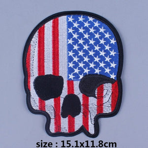 USA Skull Iron On Biker Patches For Clothing