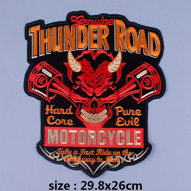 Thunder Road Iron On Biker Patches For Clothing