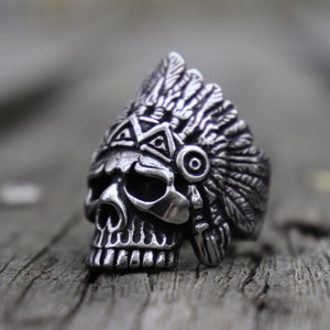 Steel Vintage Chief Indian Style Skull Ring