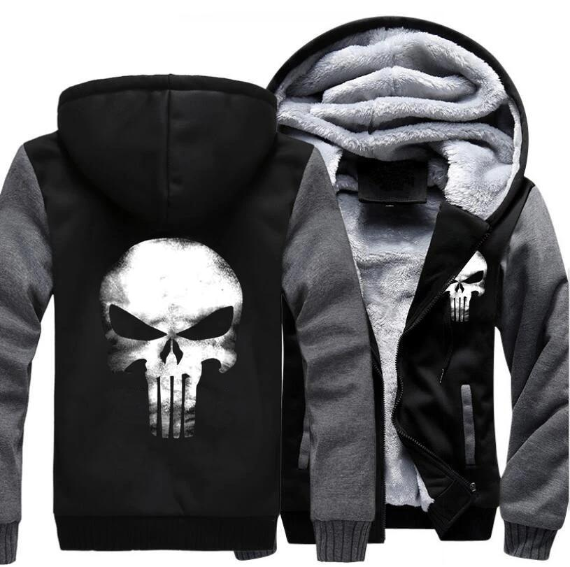 Thick Warm Fleece Skull Hoodie