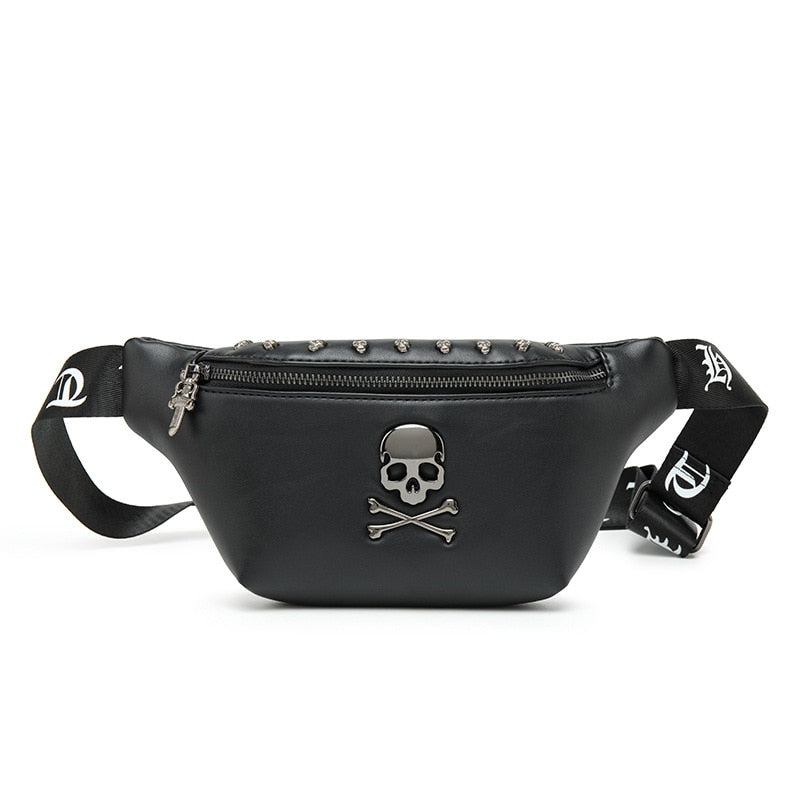Rock Skull Designer Rivet Belt Leather Chest Bag