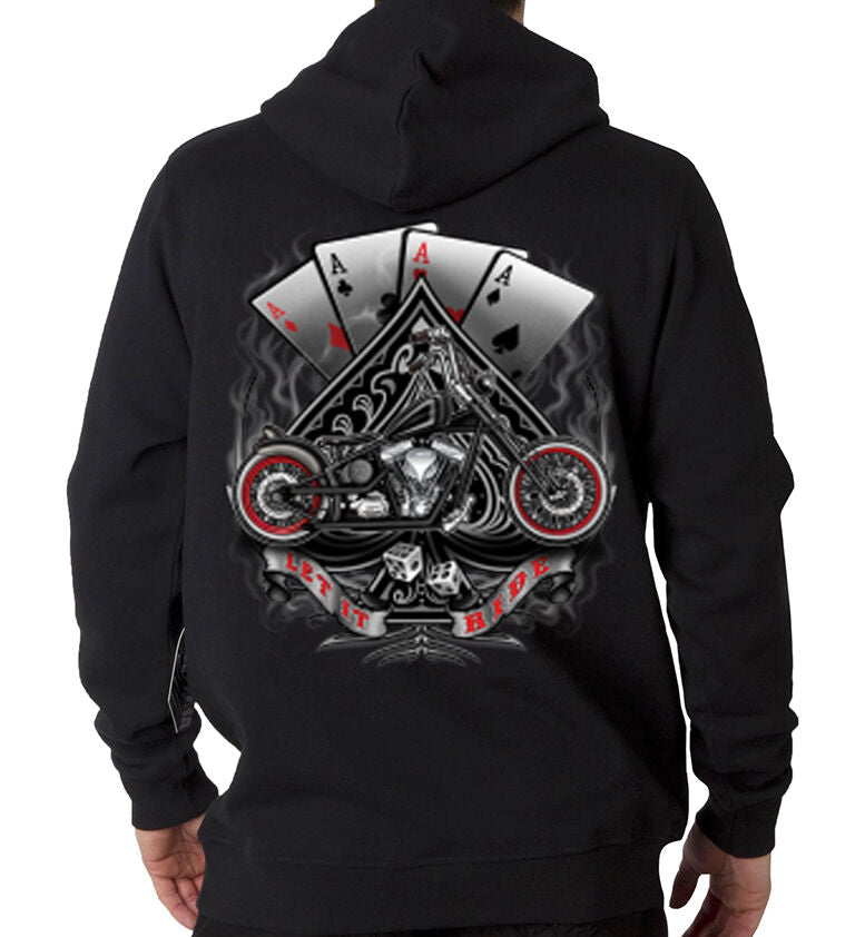Black Let It Ride Dice Lucky Motorcycle Hoodie