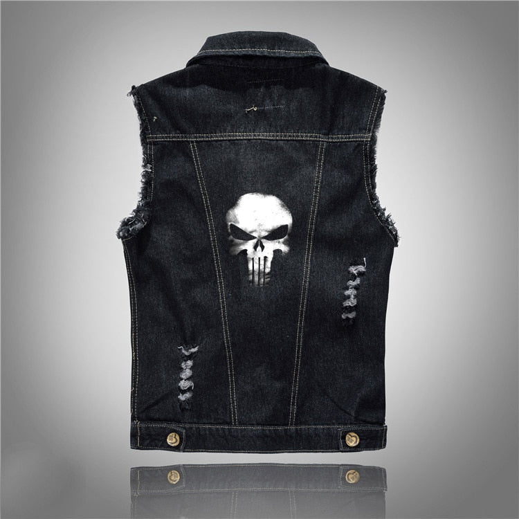 Punisher Skull Print Black Denim Vest