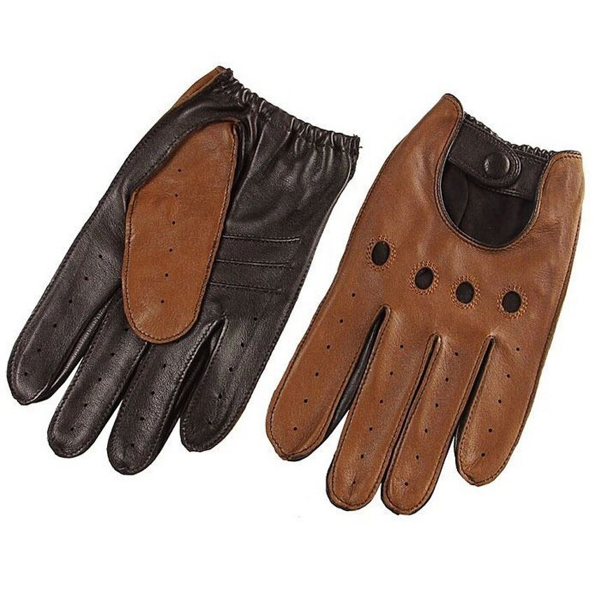 Genuine Leather Wrist Breathable Driving Gloves