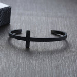 Cross Cuff Steel Bracelet