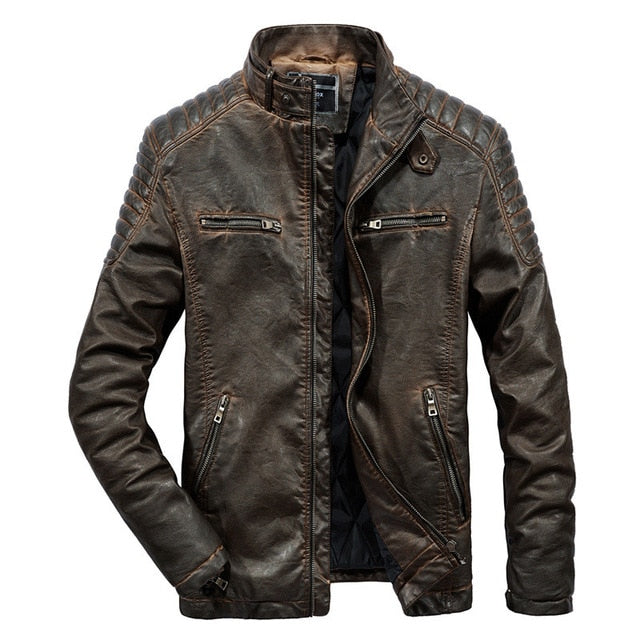 Vintage Style Moto Rider Leather Jacket
