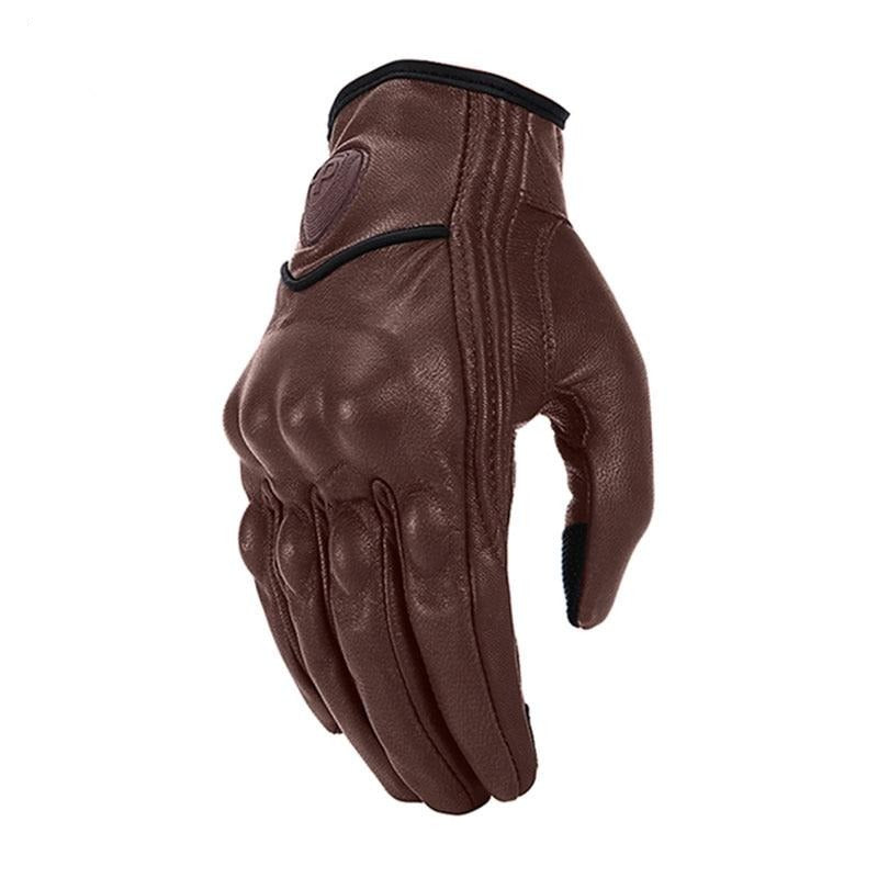 Genuine Leather Brown Retro Motorcycle Gloves