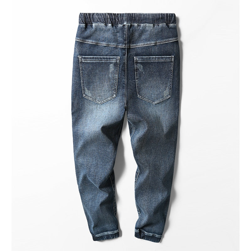 Blue Denim Elastic Drawstring Jogger