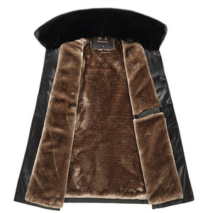Black PU Leather Fur Collar Velvet Thick Jacket