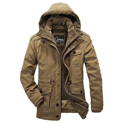 Thick Warm Fleece Fur Hooded Military Winter Jacket