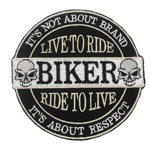 LIVE TO RIDE Embroidered Rider Patche