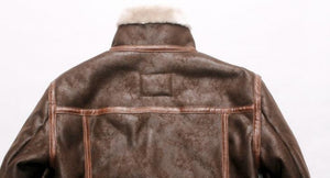 Faux Leather Stand Collar Winter Fleece Lining Biker Coat