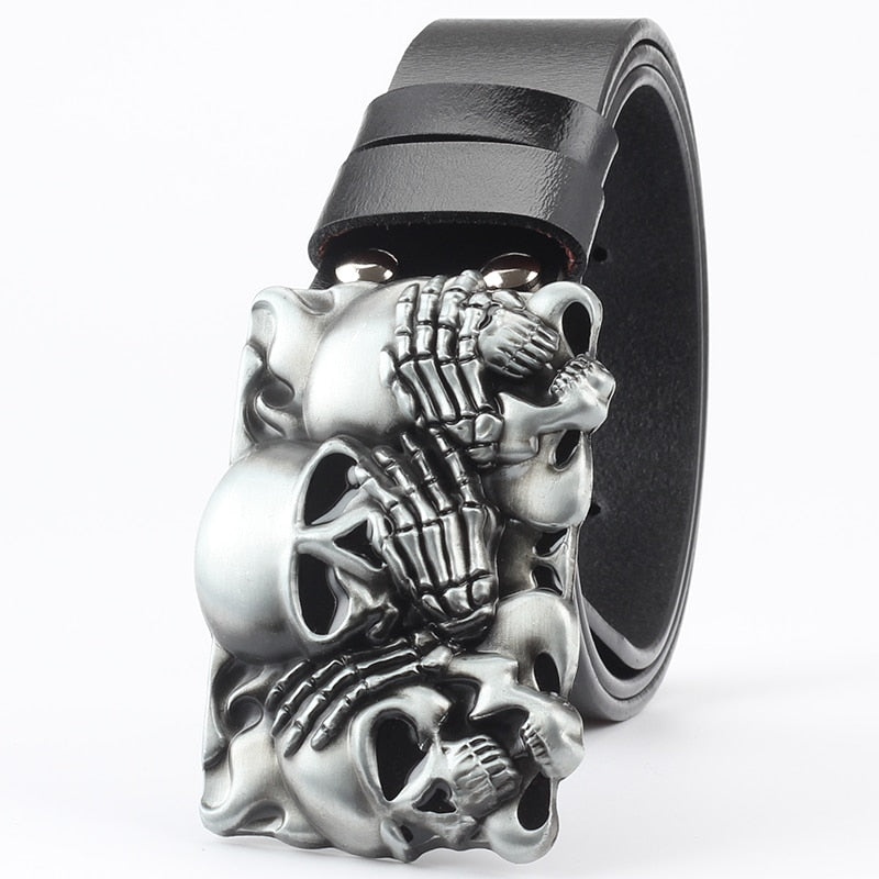 Genuine Leather Multi Skull Buckle Belt