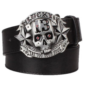 Pirate Skull Lucky 13 Tattoo Your Soul Leather Belt