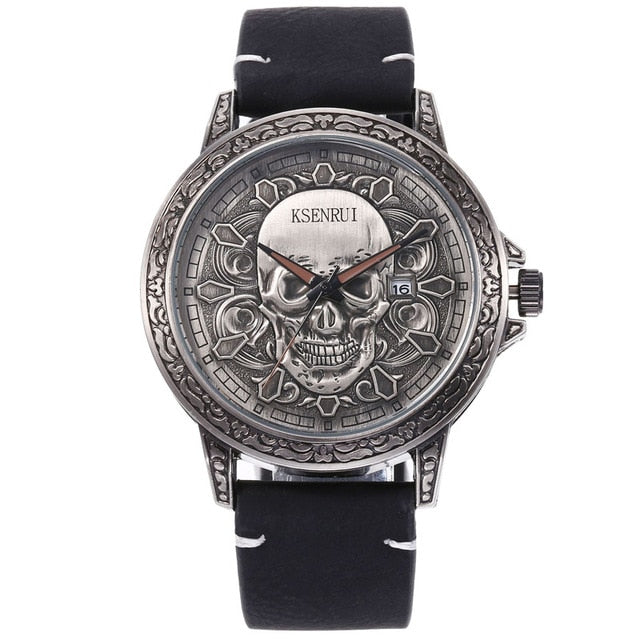 3D SKULL Luxury Retro Leather Strap Watch
