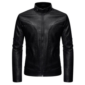 Stand Collar Leather Jacket for Motorcycle Riders