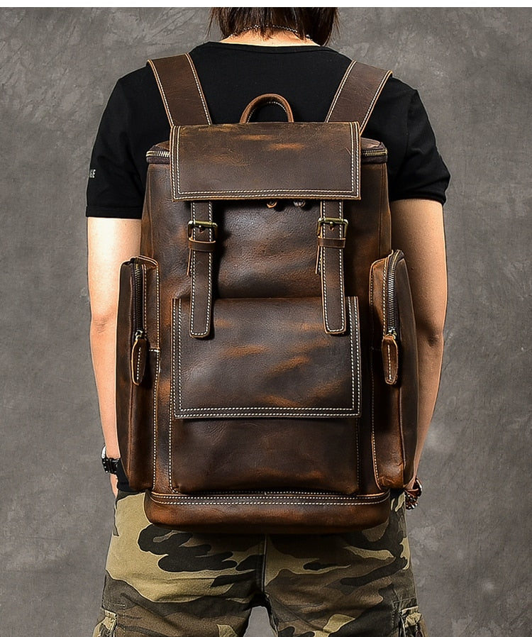 Retro Genuine Leather Large Capacity Backpack