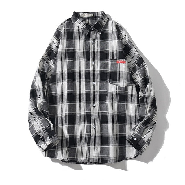 Wild Plaid Long Sleeve Cotton Shirt