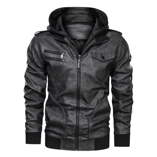 Hooded PU Leather Moto Riders Jacket